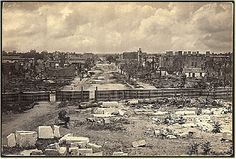 Ruins, as seen from the State House, 1865 The Southern United States city of Columbia, South Carolina, was an important political and supply center for the Confederate States Army during the American Civil War. Much of the town was destroyed… Zeppelin, American Civil War, American History, Art Inuit, Shermans March, Columbia South Carolina, West Columbia, North Carolina, Fort Sumter
