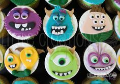 #monsteruni inspired #cupcakes #mikewazowski #sulley #randall #art #terryandterry #squishy #monstersuni #fondant #buttercream #birthday #children #lcbyrose #littlecreationsbyrose. All cupcakes hand made by Little Creations By Rose www.facebook.com/LCByRose Disney Monsters, Monsters Inc, Childrens Cupcakes, Monster Inc Party, Monster Cupcakes, Cupcake Flavors, Cute Cups, Cake Board, Love Cake