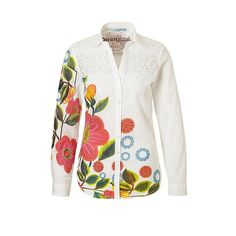 Desigual blouse shirt off white floral print multicolour ecru wit bloemenprint