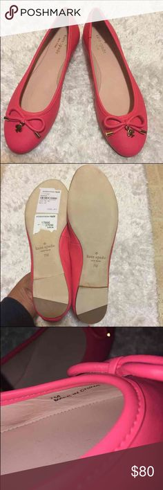 Kate Spade Flats 100% AUTHENTIC. NEW WITH MINOR FLAWS - NO BOX Women's Size: 7M Color: Coral NOTE: My photos shows that the flats are slightly stepped on.  There are no major signs of wear & tear - great condition. These shoes were just tried on. NO TRADES. REASONABLE OFFERS ONLY! kate spade Shoes Flats & Loafers