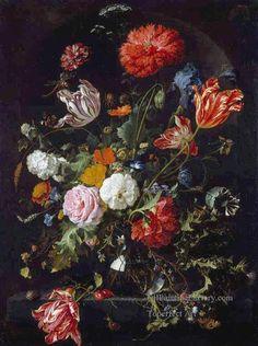 3 Flowers Dutch Baroque Jan Davidsz de Heem floral