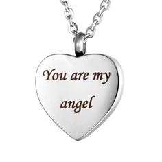 """VALYRIA Heart Cremation Urn Necklace Memorial Keepsake Jewelry - Engraved """"You are my angel"""" -- Awesome products selected by Anna Churchill"""