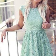 Mint lace dress :) skater waistline