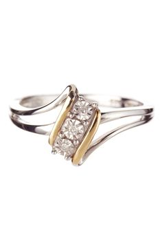 14K Yellow Gold & Sterling Silver Diamond Anniversary Ring