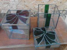 Stained glass Christmas boxes, would be cute for holding Christmas cards.