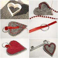 Pomysł na Walentykowy Prezent - breloczek do kluczy Homemade Crafts, Diy And Crafts, Crafts For Kids, Arts And Crafts, Crafts With Pictures, Craft Box, Valentine's Day Diy, Felt Hearts, Valentine Day Crafts