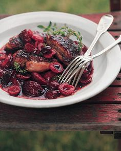 Grilled Duck Breasts with Cherry Plum Sauce - Martha Stewart Recipes -- try with other fowl or pork?