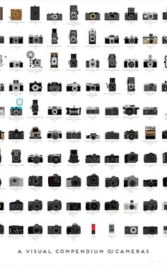 Pop Chart Lab — A Visual Compendium of Cameras Poster! illustration A Visual Compendium of Cameras Old Cameras, Vintage Cameras, Antique Cameras, Nikon Cameras, Dslr Photography Tips, Film Photography, Photography Backdrops, History Of Photography Timeline, Landscape Photography