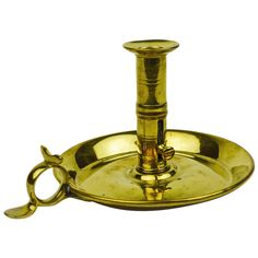 English Brass Chamberstick, circa 1800 | From a unique collection of antique and modern candle holders at https://www.1stdibs.com/furniture/decorative-objects/candle-holders/