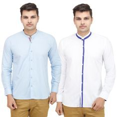 VMENZ Set Of 2 Designer Casual Shirts For Men, l, sky blue and white  ADDITIONAL 20% OFF – Apply code ADD20OFF to get additional 20% discount  Time to dress-up, has arrived. Men, who are stereotyped as non-stylers; have something to break this very stereotype. Here's the combo of 2 classic and premium looking shirts for all the gentlemen! All the four shirts, comes in four different and classic colours. Each of them are well-designed to bring in the flavour of variety. In addition, the…