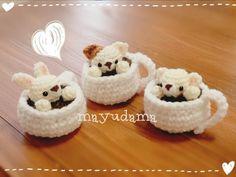 Amigurumi animals in tea cups. (Inspiration).