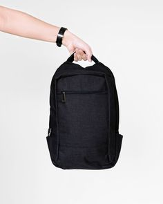 A minimalistic linen light backpack that will carry you through the week. Black Linen, Sling Backpack, Traveling By Yourself, Minimalist, Backpacks, Bags, Fashion, Handbags, Moda