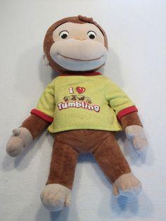 "2007 Curious George I Love Tumbling George the Monkey 14"" plush toy USED"
