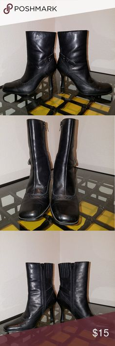 """Maripe boot heels Size 6M. 3"""" heel. Leather upper with inner ankle side zippers. 9"""" height. Minor signs of wear (see photos). Maripe Shoes Heeled Boots"""
