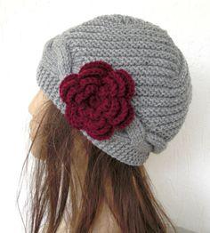 Hand knit hat  Womens Hat  Cloche hat   in silver gray by Ebruk, $35.00