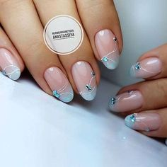 Beautiful delicate nails, Beige blue nails, Beige dress nails, Bridal nails, Cute fashion nails, Delicate wedding nails, Exquisite nails, Festive nails