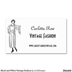 Black and White Vintage Fashion Double-Sided Standard Business Cards (Pack Of 100)