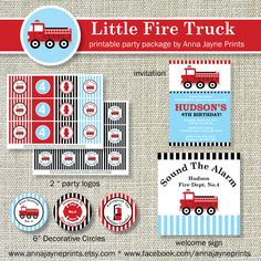 Little FIRE TRUCK Party Package - Fireman - Firefighter - Fire Fighter - Fire Man - Fire Engine - Red - Blue - Black. $35.00, via Etsy.