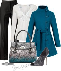 """""""Teal Button Coat"""" by orysa on Polyvore"""