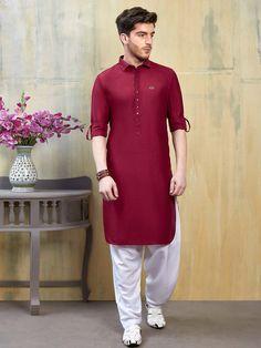 Shop Maroon cotton fabric solid pathani suit online from India. Punjabi Kurta Pajama Men, Kurta Men, Punjabi Boys, Gents Kurta Design, Boys Kurta Design, Designer Suits For Men, Designer Clothes For Men, Designer Dresses, Dress Suits For Men