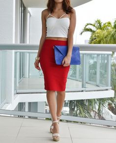 White and red outfit! Love the pop of color the blue clutch adds <3 #loveshoppingmiami