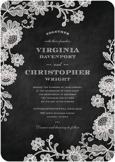 Chalked Affair - Signature White Wedding Invitations - Magnolia Press - Light Gray - Gray : Front