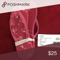 NWT Coach pink slippers- size 7 Coach rubber slippers. Pink flower print. Size 7. Coach Shoes Slippers