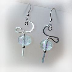 Hammered Sterling & Dichroic Glass Earrings