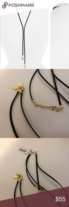 """Vanessa Mooney NWT Cicley Bolo necklace Brand new never worn. Golden diamonds tip a slender wrap-style choker that perfectly embodies the '90s style redux. 13"""" shortest length; 17"""" longest length Lobster clasp closure Faux leather/10k-gold plate Made in the USA vanessa mooney Jewelry Necklaces"""