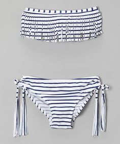 Take a look at the Black & White Stripe Fringe Bikini - Girls on #zulily today!