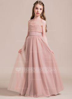 0f8fc0d27f Corte A Princesa Novio Hasta el suelo Tul Vestido de Damita de honor  Vestidos De
