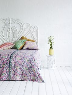 White bedroom with pops of color (white bedroom ideas) Tags: white bedroom boho white bedroom walls rustic white bedroom white bedroom gold white bedroom furniture White Wall Bedroom, White Bedroom Furniture, Rattan Furniture, Bedroom Decor, Rattan Headboard, White Headboard, Kantha Quilt, Quilts, My New Room