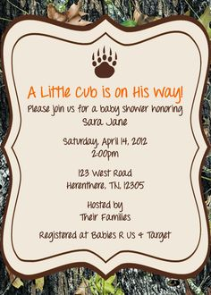 hunting themed baby shower | Hunting Invitations