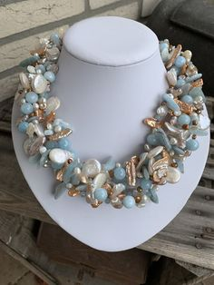 Aquamarine, Pearl necklace - This beautiful necklace is made of 5 strands with mm natural Aquamarine sticks, 4 and 10 mm ro - Shell Jewelry, Pearl Jewelry, Wire Jewelry, Jewelry Crafts, Jewelry Art, Gemstone Jewelry, Beaded Jewelry, Jewelery, Jewelry Accessories