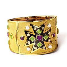 Verdura         Maltese Cross Bracelet.            Iconic Maltese Cross motif in amethyst, peridot,  pearl, diamond and 18k hammered yellow gold, hinged.