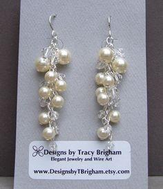 Swarovski Pearl Earrings Silver Cascade by DesignsbyTBrigham, $43.00