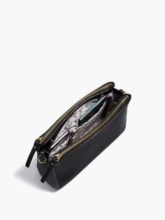 The Pearl - Leather Crossbody Bag & Clutch - Designed by Lo & Sons #loandsons BLACK SAFFIANO LEATHER EXTERIOR / GOLD HARDWARE / GREY INTERIOR