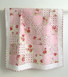 Beautiful! Etsy listing at https://www.etsy.com/listing/237452094/adorable-baby-girl-quilt-with-tiny-pink