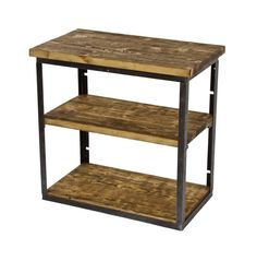 refinished three-tier american vintage industrial stationary shelving unit comprised of brushed angled iron supporting old growth pine wood