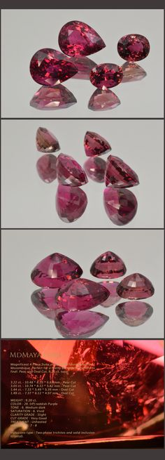 Magnificent 4 Piece Suite of Rubellite Tourmaline from Mozambique. Perfect for a Pretty Earrings! Very hard to find!. Pear and Oval Cut. 9.20 ct. total Loose Tourmalines stones for sale MdMaya Gems