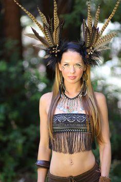 tribal goddess feather headdress tribal wig feather goddess faery burningman www.etsy.com/shop/lotuscircle