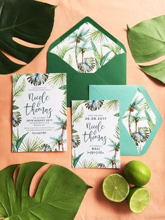 The Print Fairy Palm Beach Invitation design and envelope liner