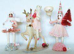 spun cotton Christmas figures - love, love, love! #vintagebycrystal.etsy.com