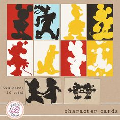 Project Mouse! | One Freebie or buy the full set of 3X4 card.   Disney - Project Life - Charaters silhouette