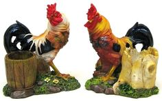 """Set of 2 Resin Rooster Toothpick Holder 4 1/2"""" tall by 4"""" wide by 2 1/2"""" deep"""