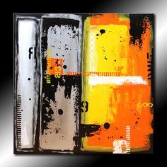 Original Abstract Painting 30x30 Urban Modern Yellow Orange Silver Black Acrylic Fine Art by Maria Farias. $275.00, via Etsy.