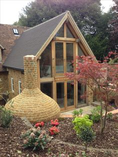 My work. Green oak frame extension with glazed gable.