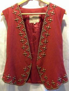 Double D Ranch Western Wear Brass Studded Vest Ladies M | eBay