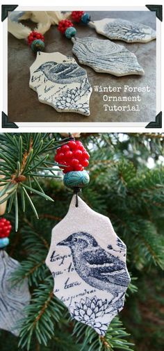 These are gorgeous.  I've made ornaments with embossed clay before but have never been brave enough to use ink.  Perhaps it's time to give it a try.