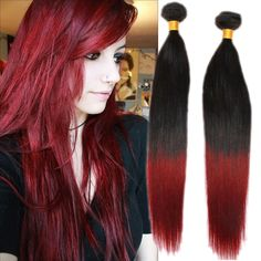 Brand New 100g/Bundle Straight Ombre 1B/BUG# 100% Real Human Hair Extensions  #WIGISShair #STRAIGHT